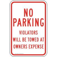 No Parking Violators Will Be Towed at Owners Expense Sign, White Reflective, 18x12 in. with Center Holes on 80 mil Aluminum by ComplianceSigns