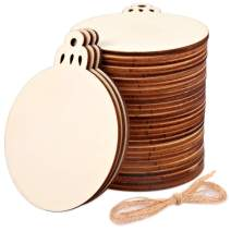 """30Pcs Natural Wood Slices 3.5"""", HNYYZL Hanging Embellishments Crafts Round Unfinished Wooden Ornaments with Hole, for Party or Christmas Decorations, DIY Craft, Class Use"""