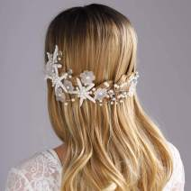 Yean Wedding Headband Starfish Silver Flower Bridal Headpieces for Bride and Bridesmaid