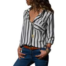 MQ Women's V Neck Striped Shirts Roll Tab Sleeve Button Tops and Blouses Front Pockets