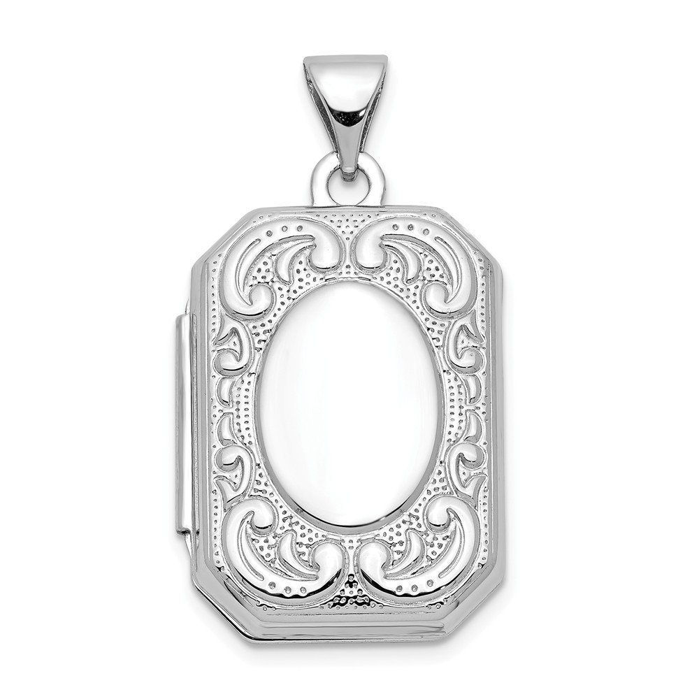 14k White Gold 20mm Book Scroll Border Photo Pendant Charm Locket Chain Necklace That Holds Pictures Shaped Fine Jewelry For Women Gifts For Her
