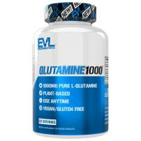 Evlution Nutrition L-Glutamine 1000, 1g Pure L Glutamine Per Serving, Post Workout, Nitrogen Transporter, Immune Support, Vegan, Gluten-Free, Veggie Capsules (60 Servings)