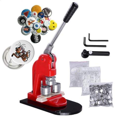 Mophorn Button Maker 44mm 1.75inch Button Maker Machine Badge Punch Press Pin Button Maker with Free 1000 Pcs Button Parts and Circle Cutter (1000pcs 44mm 1.75inch)