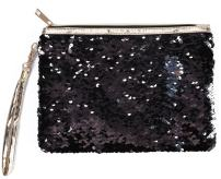 ROOSSI Mermaid Sequins Cosmetic Bag Bling Clutch Handbag Evening Clutch Envelope Bag Zipper Makeup Pouch