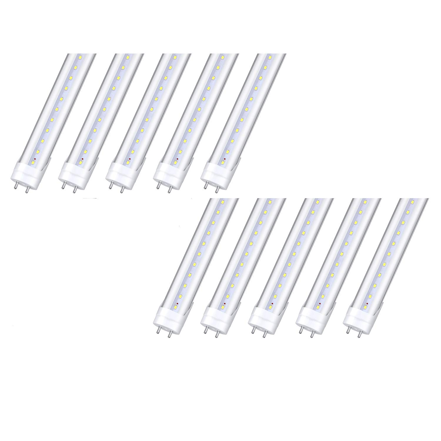 10-Pack, T8 LED Shop Light Tube, 4ft, 18W (40W CFL Equivalent), 6000K (Cold White), 85-308VAC, 110V 277V, Double-Ended Power, Bypass Ballast, Clear Cover, G13 Lighting Fixtures