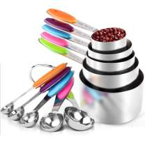 Measuring Cups and Spoons Set(10 Pieces), Stainless Steel Measuring Spoons with Colored Silicone Handle, Great for Dry and Liquid Ingredients