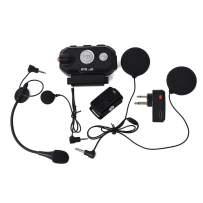 HYS Waterproof Handsfree Motorcycle Bluetooth Motorbike Helmet Headset Noise Cancelling Stereo Music Earpiece with Wireless Finger PTT for GP88S 2pin Motorola 2-Way Radio