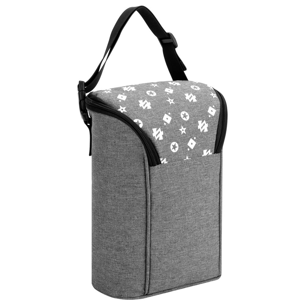 Insulated Baby Bottle Bag, Convertible Breastmilk Cooler Bag Double Warming Tote Attachable Grab & Go-Fits Bottles Like Dr. Brown, Comotomo, Philips Avent, Lansinoh, Nuk(Grey)
