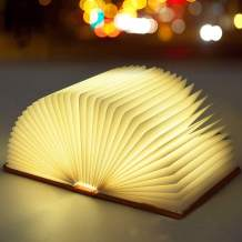 Wooden Book Light Page Turning Folding LED 3 Colors Book Lamp Night Light Home Decoration Atmosphere Lamp Unique Gift (Maple White, Large)