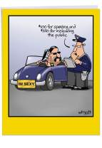 I'm Sexy - Hilarious Men's Birthday Greeting Card with Envelope (Big 8.5 x 11 Inch) - Police Traffic Stop, Congrats Joke Card - Funny Bday Congratulations Stationery Card for Men, Husband J8312BDG
