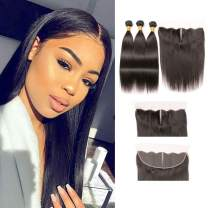 Brazilian Straight Hair 3 Bundles with Frontal 13x4 Ear To Ear Closure Middle Part 100 Real Human Hair 10a Unprocessed Virgin Hair For Full Head 12 14 16 + 10 Inches