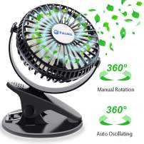 Clip on Fan, Baby Stroller Fan with 3 Speeds Fan 360°Rotation Chargeable Battery USB Powered Quite Mini Table Fan for Office, Home, Gym, Dorm, Camping, Travel, Indoor and Outdoor(Black)