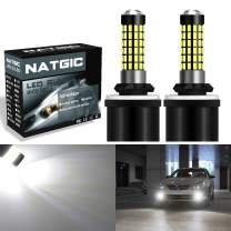 NATGIC 880 886 890 892 Led Bulbs 1800LM 6500K 3014SMD 78-EX Chipsets with Lens Projector for Fog Lights, Daytime Running Lights, Automotive Driving Lamps, 12-24V, Xenon White (Pack of 2)