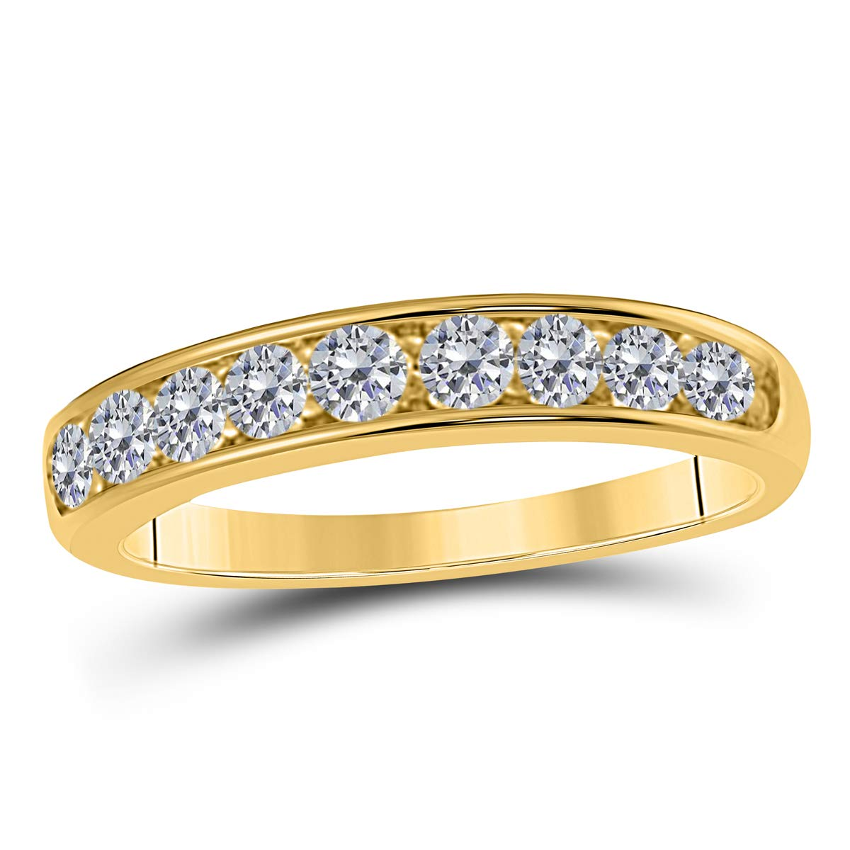 1/2 Ct. Ctw Channel Prong Setting Diamond Wedding Band In 10K Solid Rose, White & Yellow Gold