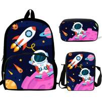 School Backpacks Girls and Boys Spaceman&Rocket Backpack with Shoulder Bag Pencil Case Kids 3 in 1 Bookbags (HD1003)