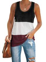 Inorin Womens Workout Tank Tops Racerback Color Block Casual Sport Summer Sleeveless T Shirts