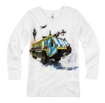 Shirts That Go Little Boys' Long Sleeve Airport Fire Truck T-Shirt