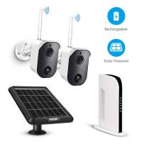 Outdoor Wireless Home Security Camera System Battery Solar Powered Rechargeable 1080p NVR System, 2-Way Audio, Wall Mount Included 2 Camera kit and 128G TF Card PIR Motion Sensor by Tmezon