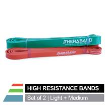 TheraBand High Resistance Bands, Set of 2 Elastic Super Bands for Improving Flexibility, Injury Rehab, Full Body Workouts, Heavy Duty Stretch Bands for Lifting, 1 Light & 1 Medium Band