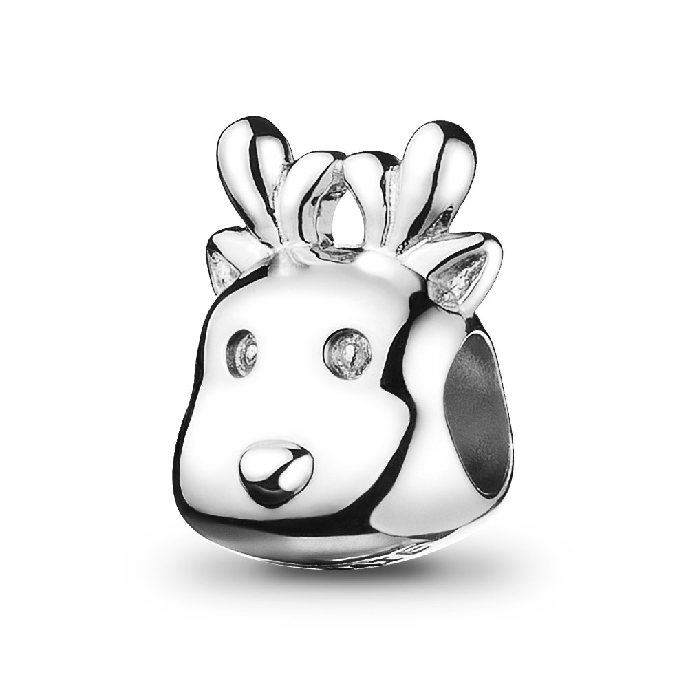 ATHENAIE Christams Reindeer Charms 925 Sterling Silver Blue CZ Holiday Deer Beads Dangle for Bracelet
