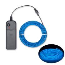 EL Wire Blue Neon Lights 15ft, 4 Modes Portable Neon Glowing Strobing Electroluminescent Wire with Battery Pack