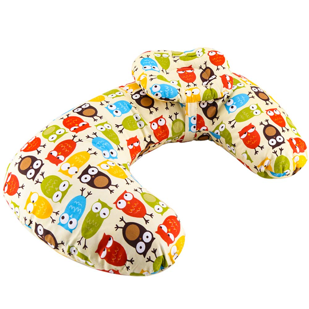 Luchild Baby Breastfeeding Nursing Pillow, Newborn and Infant Head Support Pillow and Positioner, Machine Washable, Portable and Comfortable, Perfect for Baby Lounger and Feedingn (Owl)
