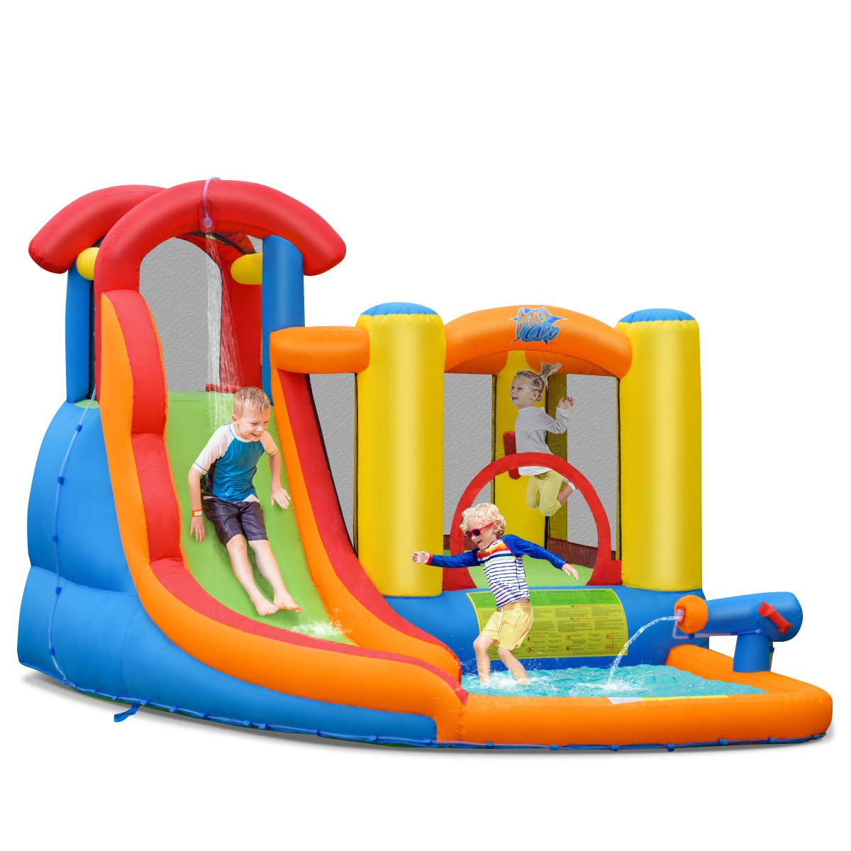 BOUNTECH Inflatable Bounce House, 6 in 1 Water Slide Jumping Park w/Splashing Pool, Climbing Wall, Water Cannon, Basketball Scoop, Including Carry Bag, Stakes, Repair Kit, Hose (Without Blower)