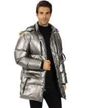 WULFUL Men's Winter Down Jacket Lightweight Puffer Coat Padded with Detachable Fur Hood