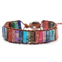 rongji jewelry Handmade Bohemian Natural Stones Bracelet - Leather Bracelet with Chakra and Beads Wrapped for Women and Girls