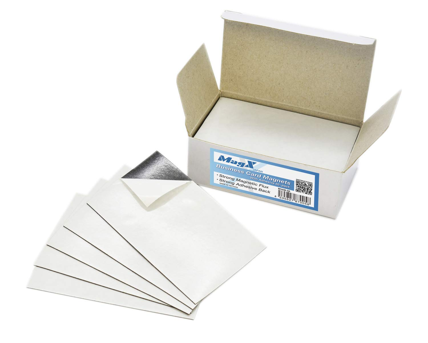 MagX Magnetic Business Card with Adhesive 2x3.5 inch(50-pack), Magnets with Self Adhesive, Peel and Stick, Stationery, Office supply