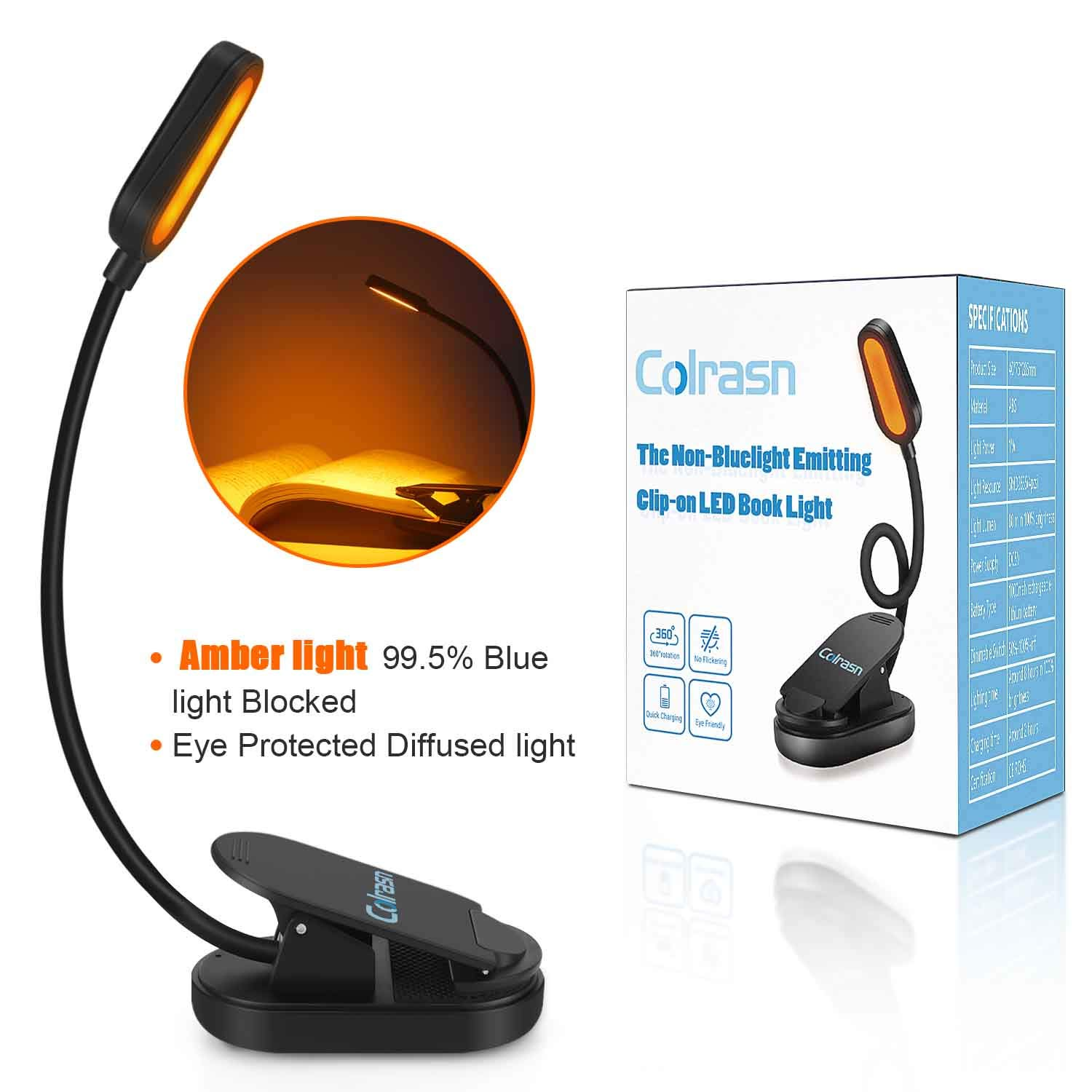 Book Light, Blue Light Blocking, Amber Clip-On Reading Light, 1600K Warm LEDs for Reading in Bed. Sleep Aid Light. 360°Flexible Neck Touch Control, Adjustable Brightness, for Kids and Kindle