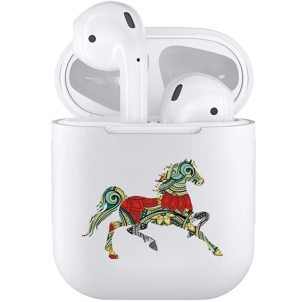 Silicone TPU Cute Accessories Holder Case Cover Skin with Keychain Compatible with Airpods Air Pods 1 2 Horse