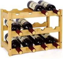 SKEMIX Wine Rack, Thicker Bamboo Wood Materials, Sturdy and Durable Wine Storage Cabinet Shelf, Wine Holder, Wine Racks Countertop for Pantry - 3 Tiers 12 Bottle Wine Rack