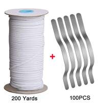 200 Yards 1/8 inch Elastic for Sewing Heavy Stretch Knit Braided Elastic Bands and 100 PCS Metal Aluminum Nose Bridge Nose Strip Wire for Craft Masks (White Elastic, 1/8 inch Elastic)