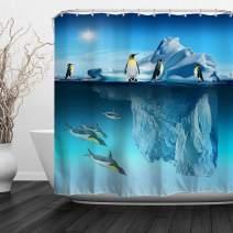 "Baccessor Penguins Decor Shower Curtain, Aquatic Flightless Birds Polar South Pole Wildlife Sea Animals,Fabric Bathroom Curtain Set with Hooks, 72"" W x 72"" H (180CM x 180CM) - Iceberg Penguin"