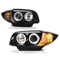 [For 2008-2013 BMW E82 E88 1-Series Halogen Model] LED Halo Ring Black Projector Headlight Headlamp Assembly, Driver & Passenger Side
