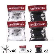 4 Packs Halloween Spider Web With 40 Pieces Plastic Spiders Super Stretchy Cobwebs For Halloween Party Decorations Supplies 2 Colors