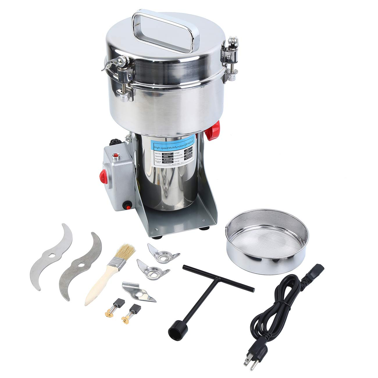 Ridgeyard 2000g Commercial Electric Grain Grinder Mill Powder Machine Grinder Flour Mill Coffee Grinder for Bean Seed Nut Spice Herb Pepper Cereal Wheat