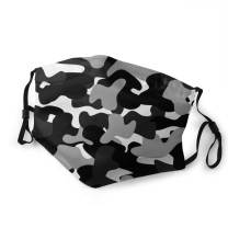 Camo Face Mask Camouflage Print Mouth Cover with Filter Washable Breathable Dustproof Bandana Balaclava for Men Women