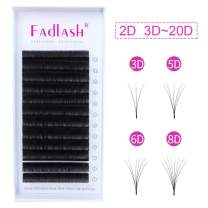 Easy Fan Lash Extensions FADLASH Volume Eyelash Extensions Self Fanning Lashes 0.03 C Curl 20mm Rapid Blooming Lashes (0.03-C, 20mm)