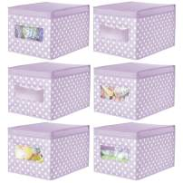 mDesign Decorative Soft Stackable Fabric Closet Storage Organizer Holder Box - Clear Window, Lid, for Child/Kids Room, Nursery - Large, Collapsible Foldable - Polka Dot Print - 6 Pack - Light Purple