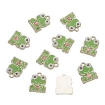 Craftdady 10Pcs Alloy Enamel Frog Charms 17x13mm Metal Animal Dangle Pendants for Jewelry Making Hole: 1.5mm Lead Free Cadmium Free
