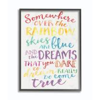Stupell Industries Somewhere Over The Rainbow Watercolors Black Framed Wall Art, 16x20, Design by Artist Erica Billups