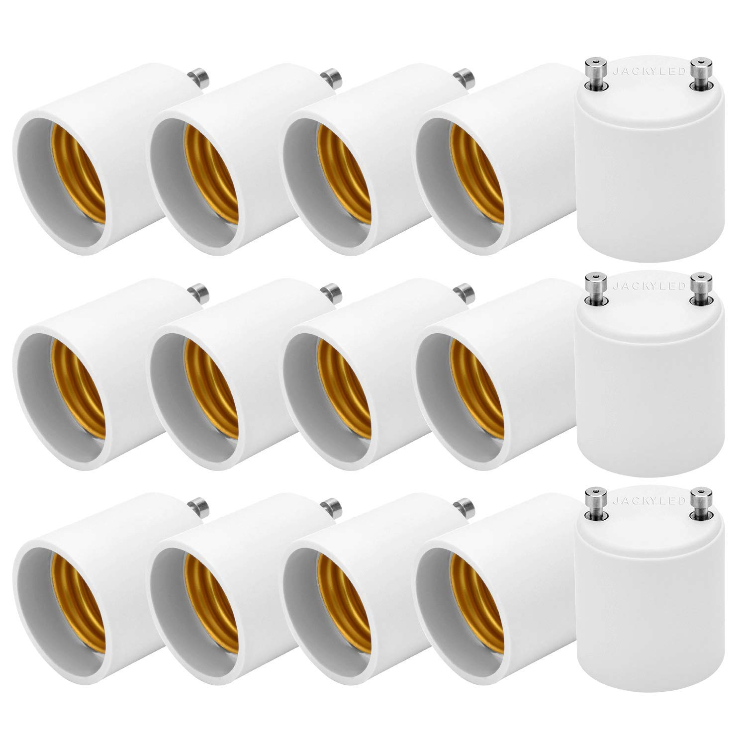 JACKYLED GU24 to E26 E27 Adapter 15-pack Heat Resistant Up to 200℃ Fire Resistant Converts GU24 Pin Base Fixture to E26 E27 Standard Screw-in Socket