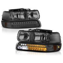 VIPMOTOZ For 1999-2002 Chevy Silverado 1500 2500 3500 Headlights - Metallic Chrome Housing, Smoke Lens, LED Daytime Running Lamp Strips, Driver and Passenger Side