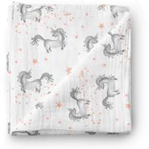 Aenne Baby Floral Mix and Match Unicorn Star Muslin Swaddle Blanket Girl, Pink Purple Print, Large 47 x 47 inch, 1 Pack, Bamboo Cotton Nursing Cover, Wrap, Stroller Cover