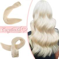 Easyouth Hand Tied Extension Brazilian Hair Weft Bundles Real Human Hair Sew in Hair Extensions, Easyouth Color 60 Whitest Blonde Double Weft Hair Extensions for Daily Use.
