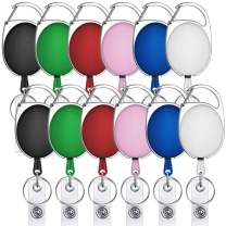selizo 12 Packs Retractable ID Badge Card Holder Carabiner Badge Reel with Belt Clip and Key Ring, Assorted Colors