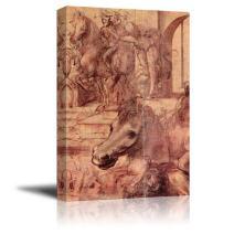 "wall26 - Adoration of The Magi by Leonardo da Vinci - Canvas Print Wall Art Famous Oil Painting Reproduction - 24"" x 36"""