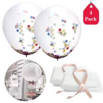 Amycute 4 PCS 36 Inch Party Confetti Sequin Tulle Balloons,Latex Balloons with Polka Dot Tutu Tulle Balloons for Baby Shower Birthday Wedding Party Decoration (White)